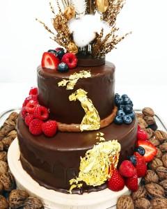 ウエディングケーキ2段ガトーオペラ